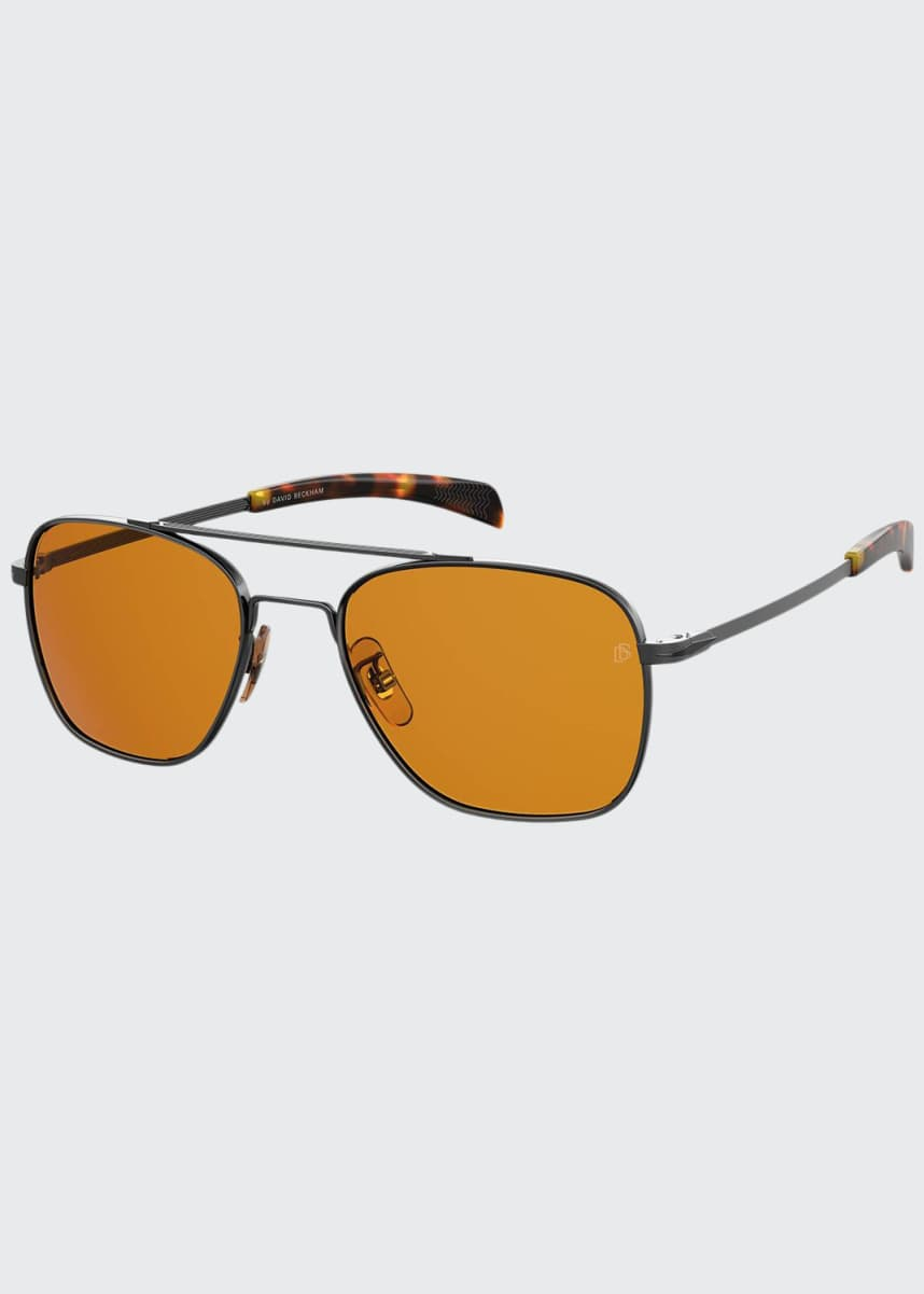 David Beckham Men's Square Metal Double-Bridge Sunglasses