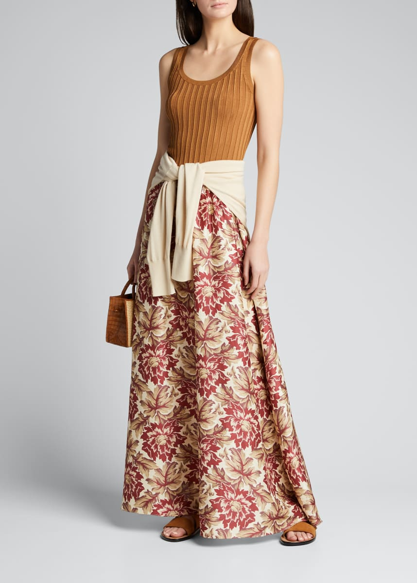 SIR The Label Valetta Floral-Print Maxi Skirt