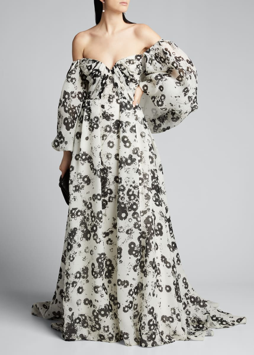 Monique Lhuillier Off-The-Shoulder Ball Gown with Removable Puff Sleeves
