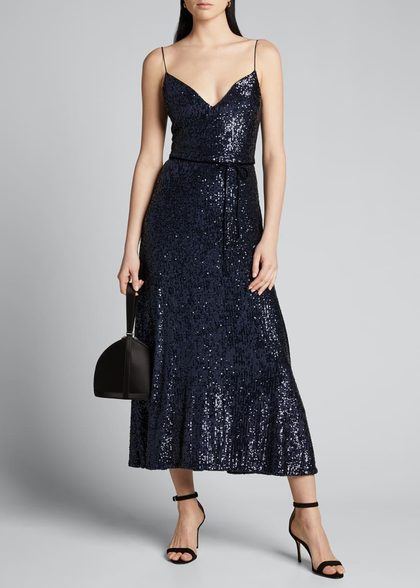 Monique Lhuillier Stretch Sequin Midi Slip Dress
