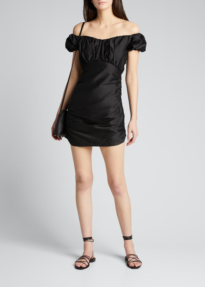 SIR The Label Valetta Off-Shoulder Silk Mini Dress