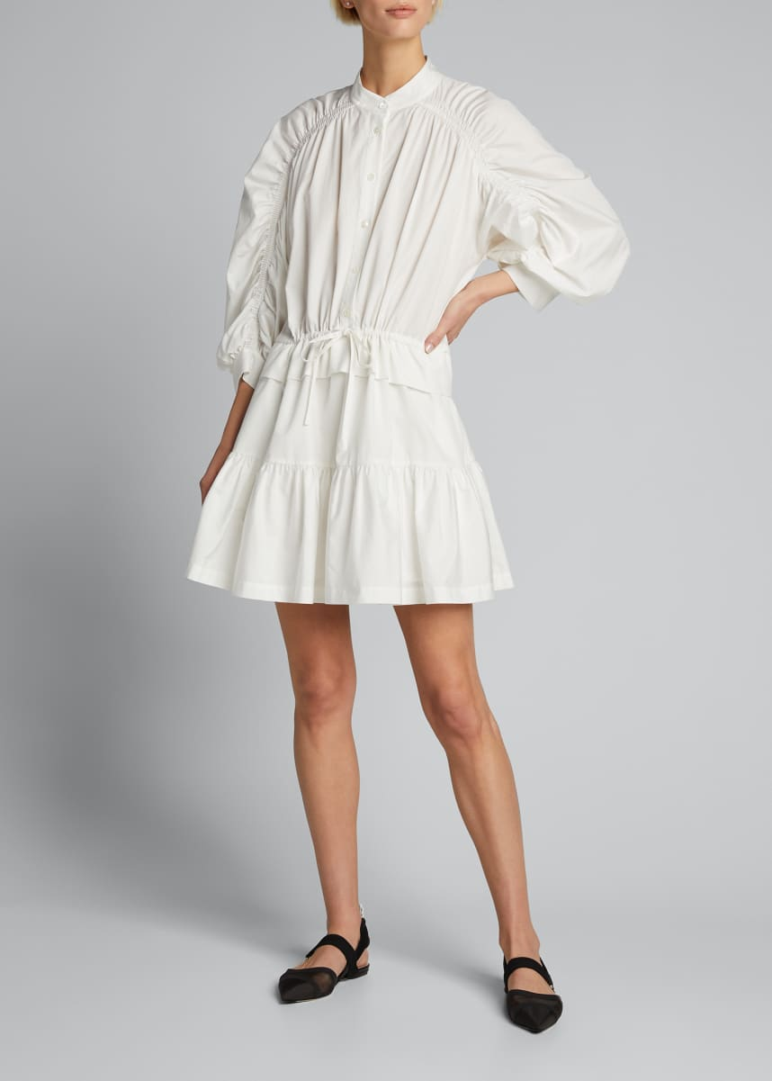FRAME Ruched 3/4-Sleeve Flounce Dress