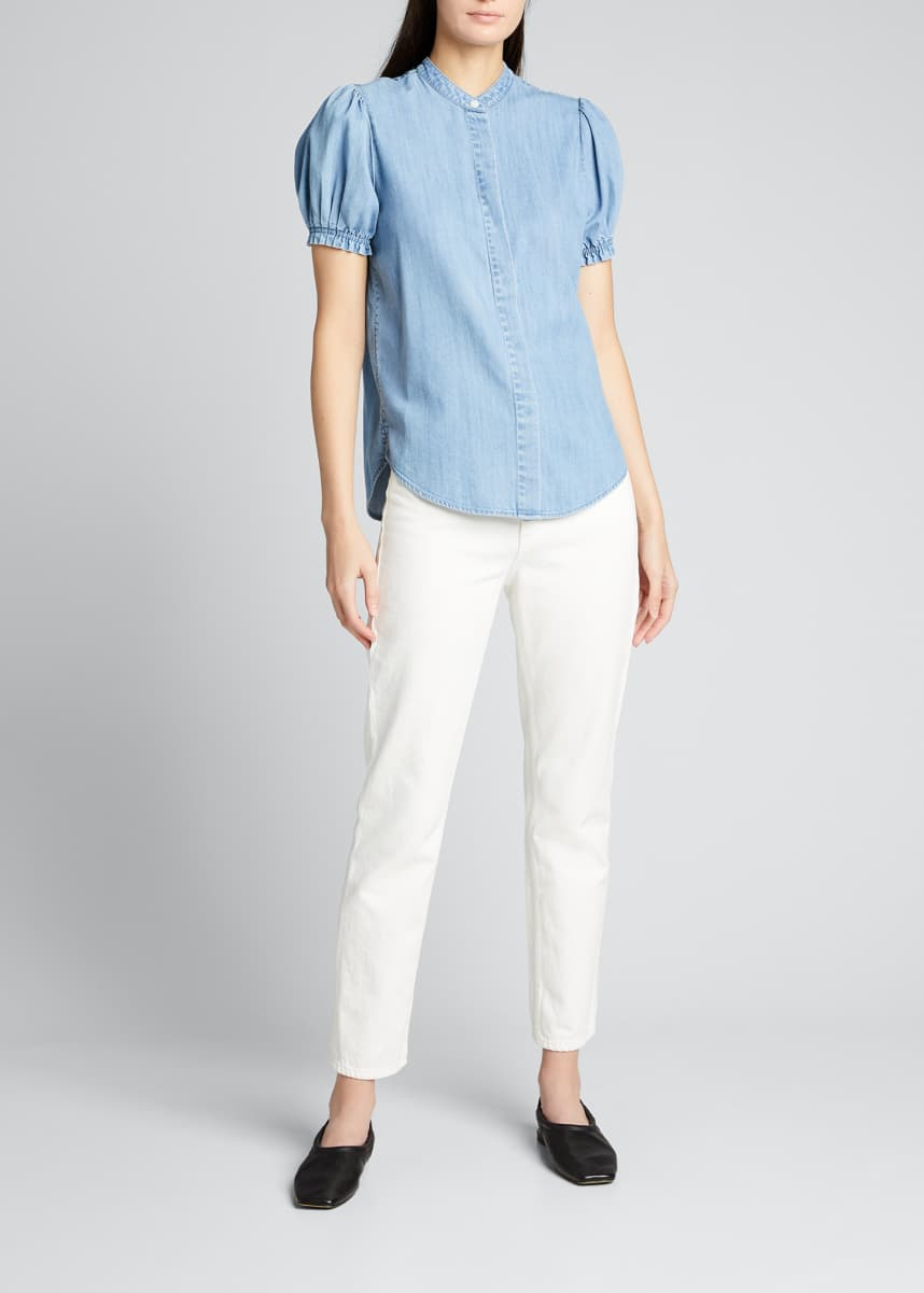 FRAME Balloon-Sleeve Button Up Denim Top