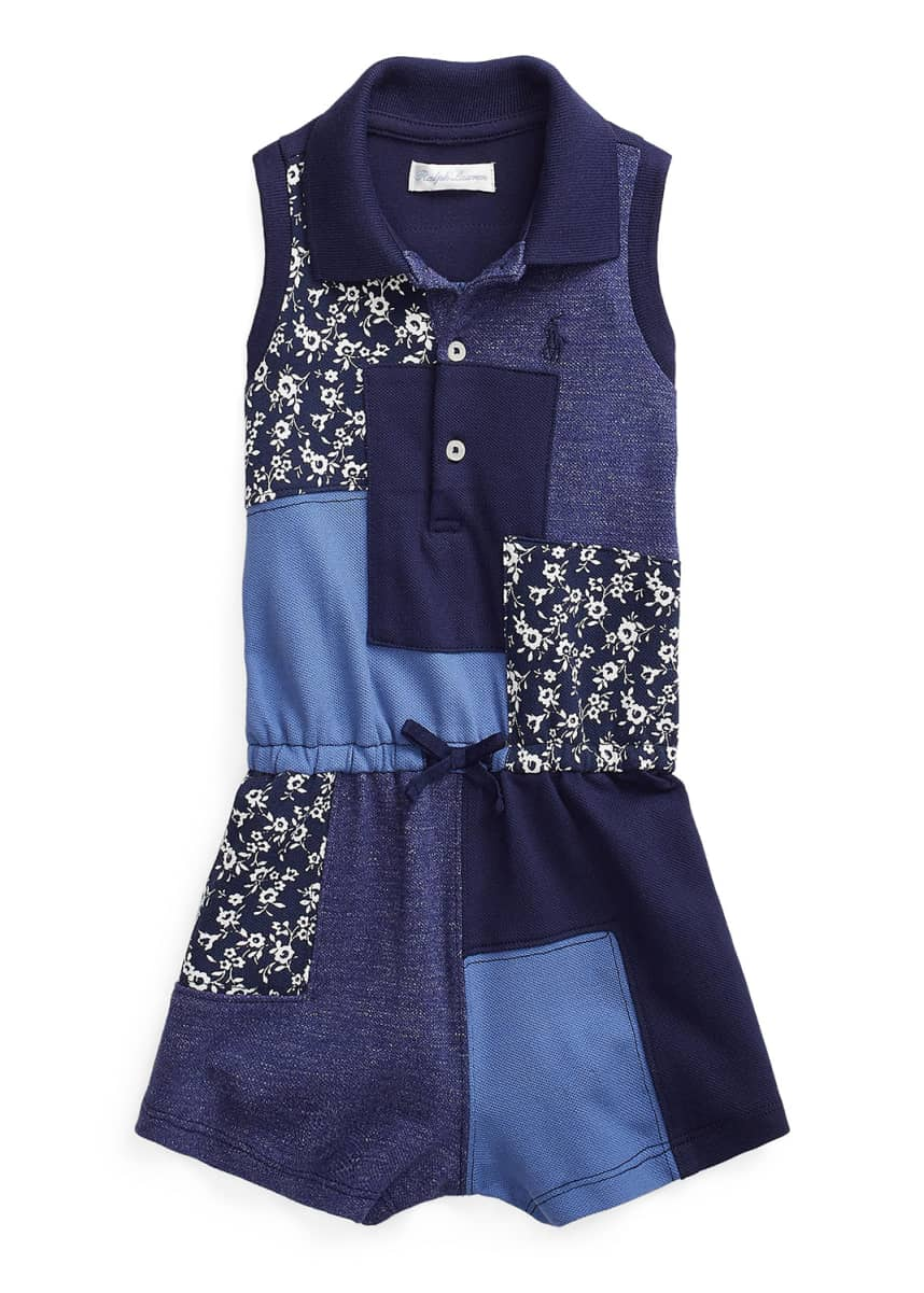 Ralph Lauren Childrenswear Girl's Patchwork Sleeveless Ribbed Romper, Size 9-24M
