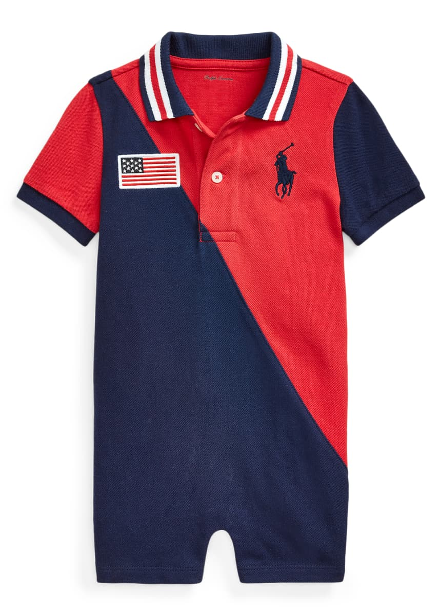 Ralph Lauren Childrenswear Boy's Colorblock American Flag Mesh Polo Shortall, Size 3-18 Months