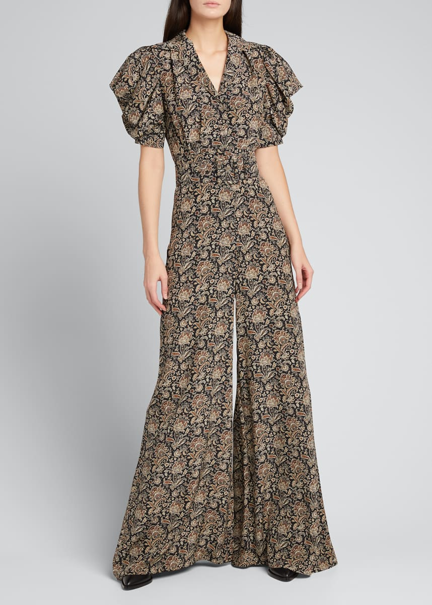 Michael Kors Collection Floral Belted Wide-Leg Silk Surplice Jumpsuit