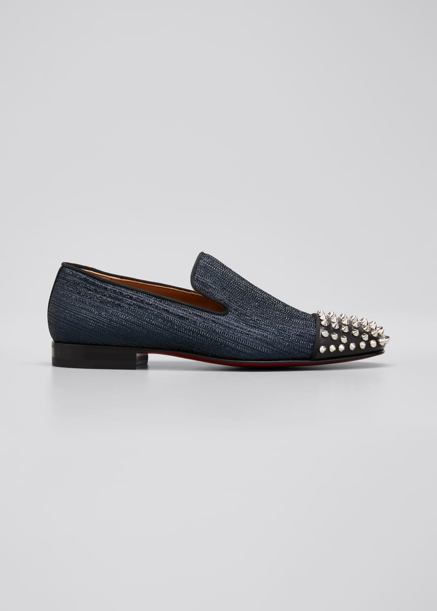 Christian Louboutin Men's Spooky Spiked Denim Red Sole Loafers