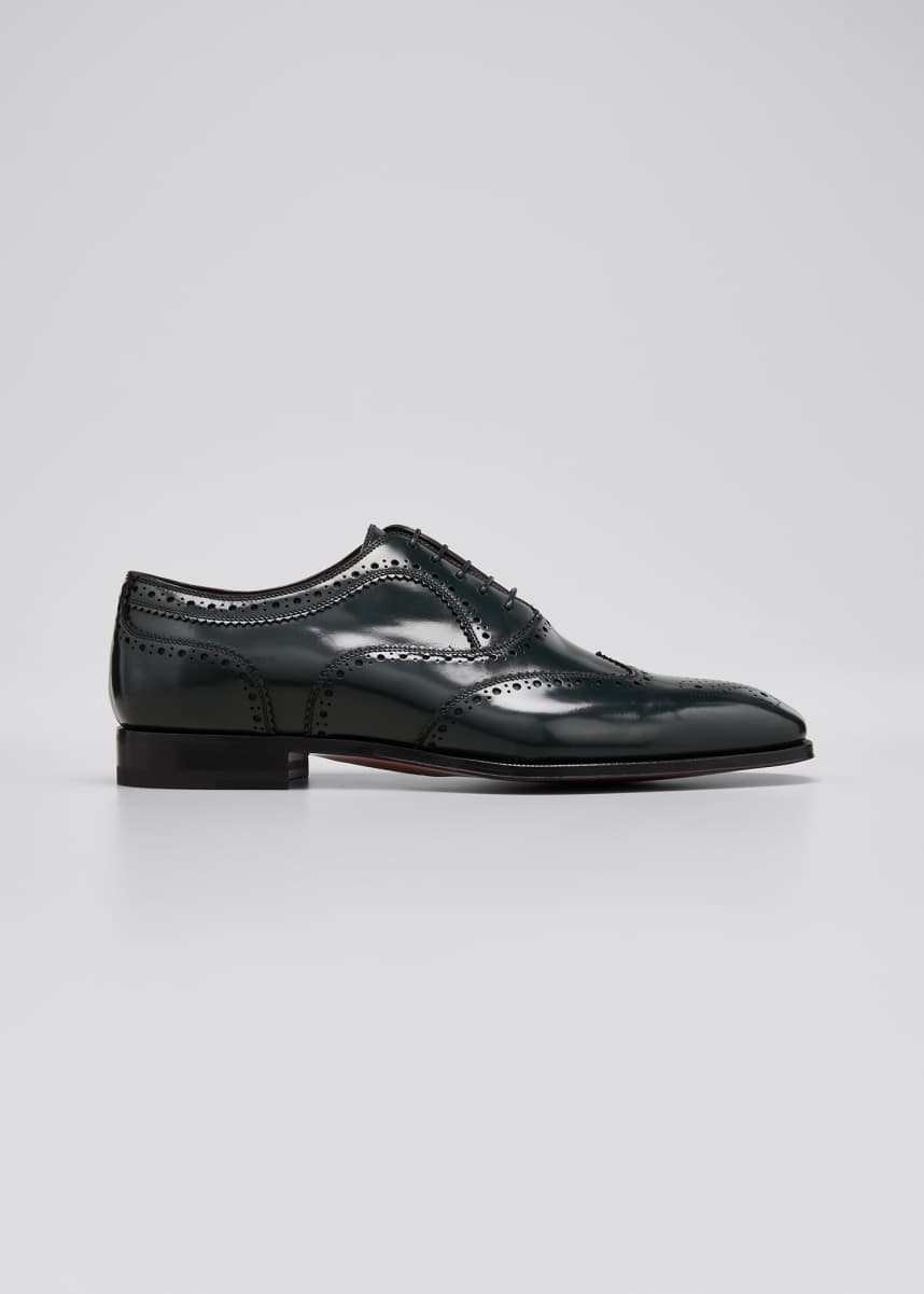 Christian Louboutin Men's Cousin Platerissimo Leather Wing-Tip Oxfords