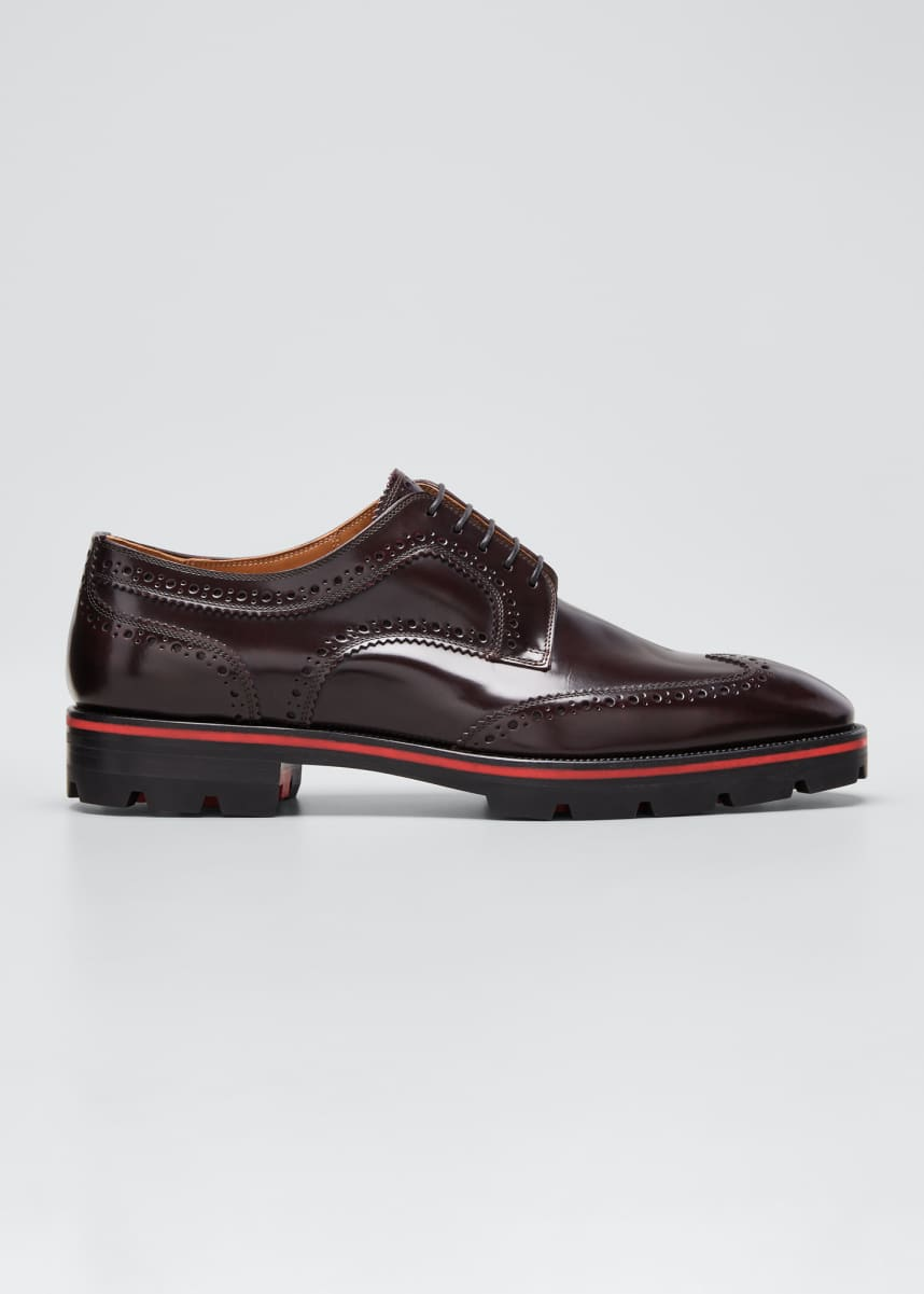 Christian Louboutin Men's Laurlaf Leather Wing-Tip Red Sole Oxfords