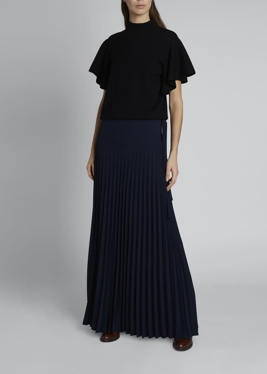 Chloe Wool-Blend Asymmetric Pleated Maxi Skirt