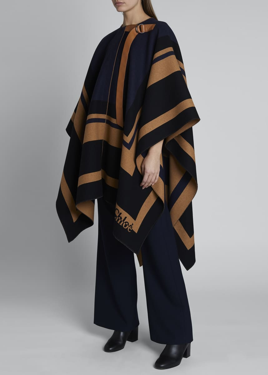 Chloe Striped Wool Blanket Cape