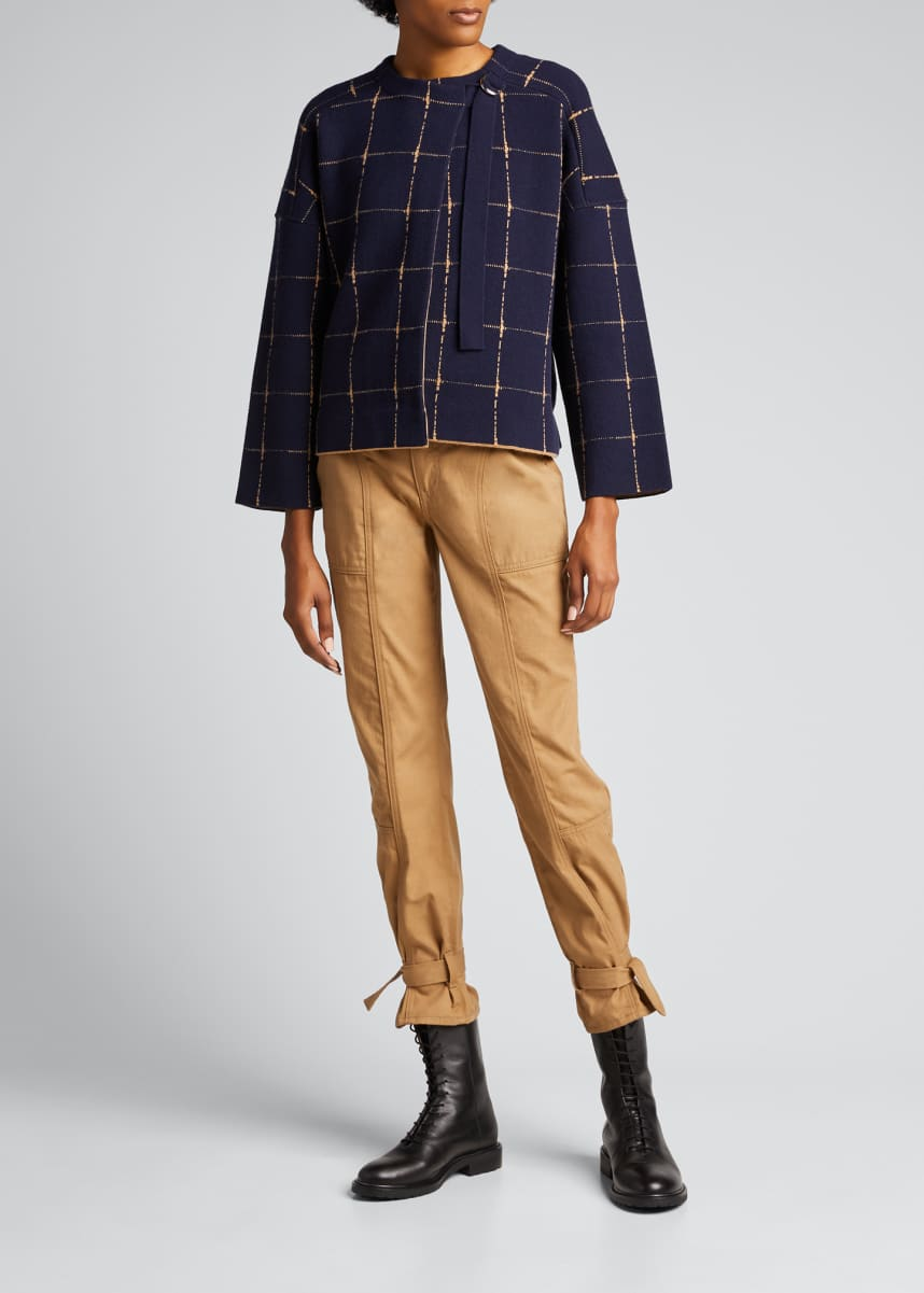 Chloe Check Jacquard Wool Boxy Jacket