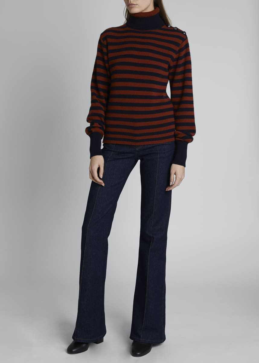 Chloe Cashmere Striped Turtleneck Sweater