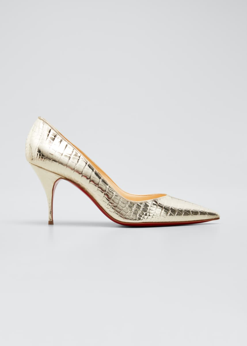 Christian Louboutin Clare 80mm Metallic Red Sole Pumps