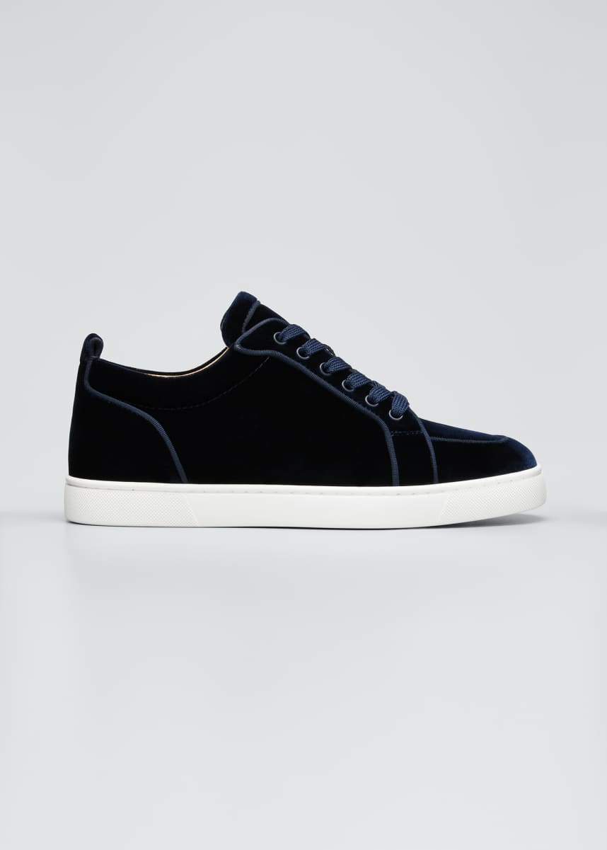 Christian Louboutin Men's Rantulow Orlato Velvet Low-Top Sneakers