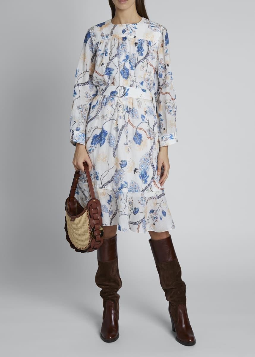 Chloe Flower Print Colorless Button-Front Shirt
