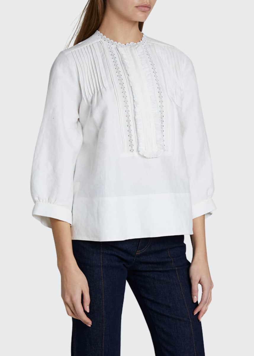 Chloe 3/4-Sleeve Frill Embroidered Linen/Cotton Top