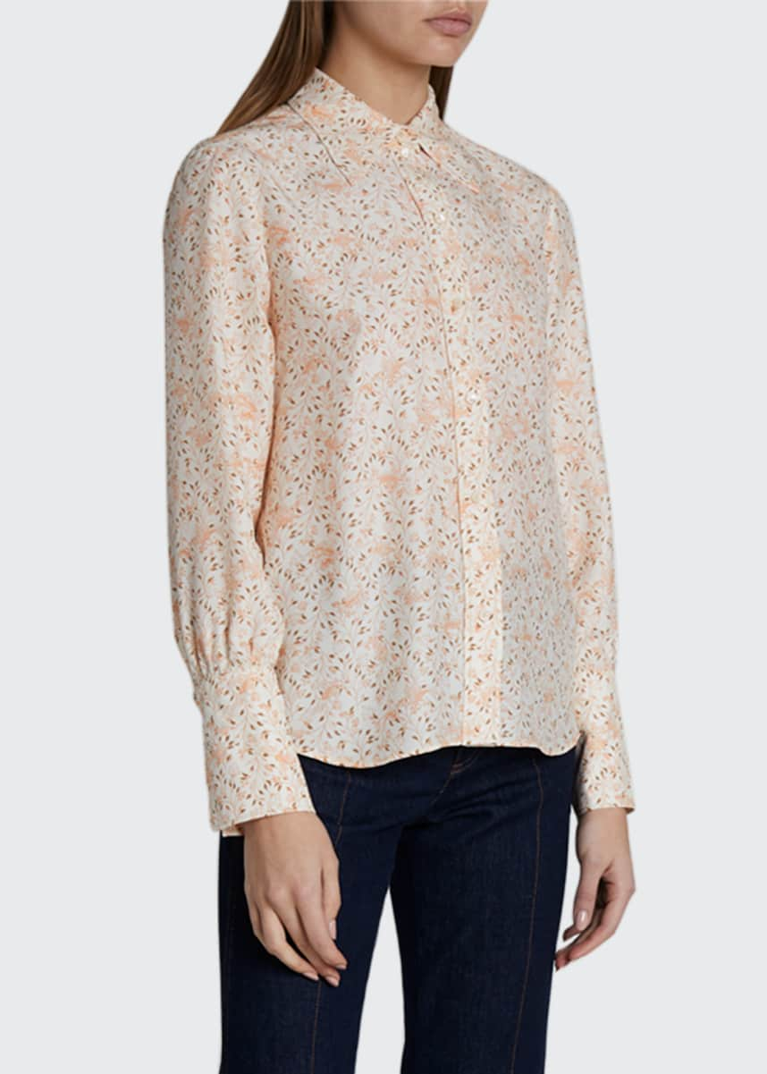 Chloe Bird Print Collared Button-Front Top