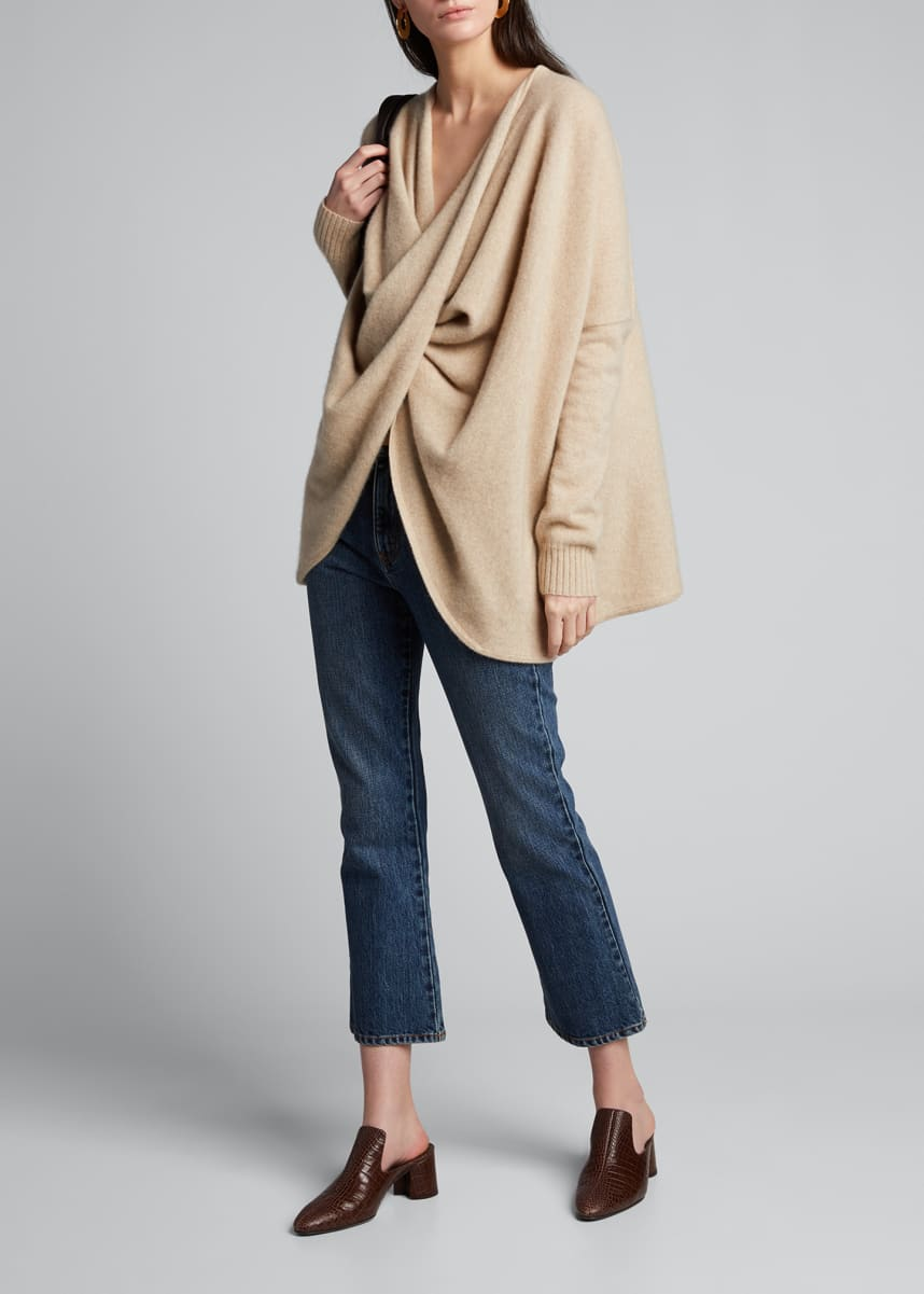 Co Cashmere Draped-Wrap Sweater