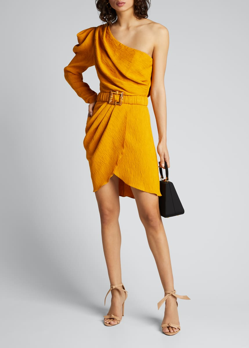 Johanna Ortiz Shining Sun One-Shoulder Belted Wrap Dress