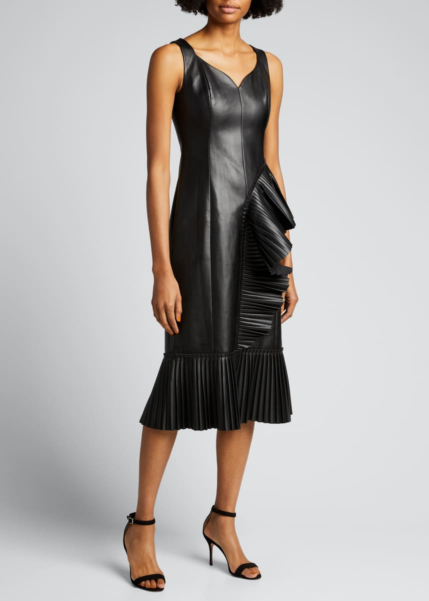 Huishan Zhang Alania Faux-Leather Pleated Dress