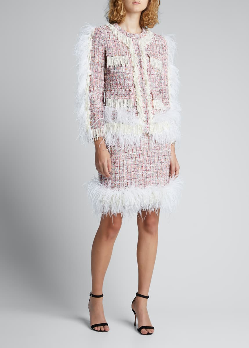 Huishan Zhang Cecil Tweed Jacket with Feathers & Pearly Trim