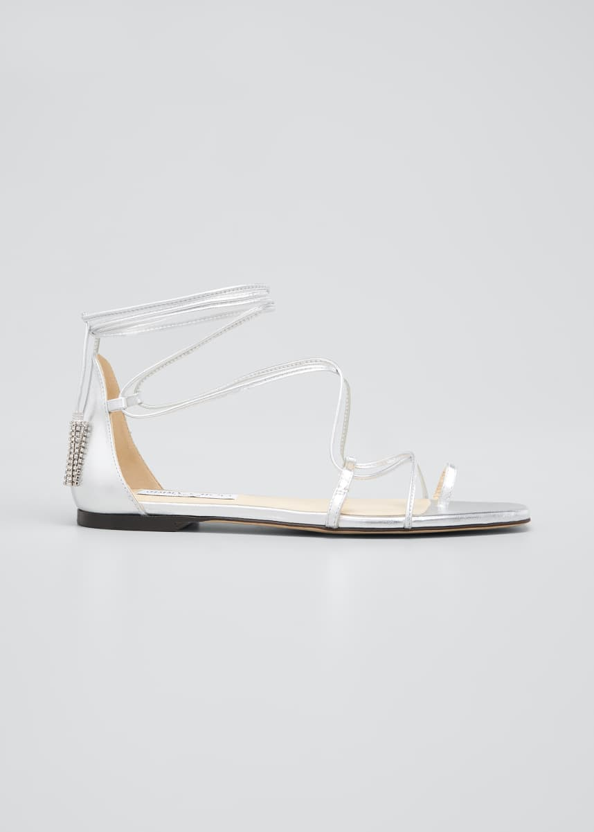 Jimmy Choo Dusti Metallic Gladiator Ankle-Tie Flat Sandals