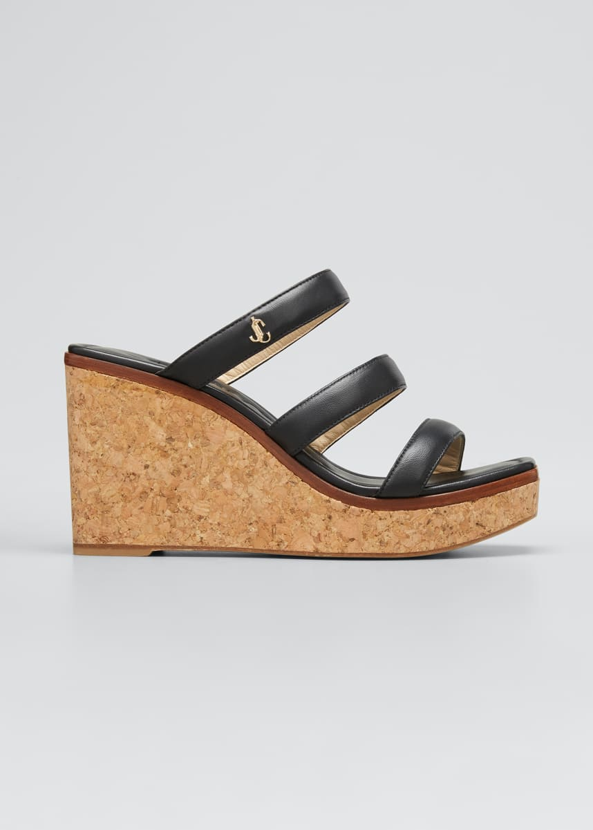 Jimmy Choo Athenia Three-Band Cork Wedge Sandals