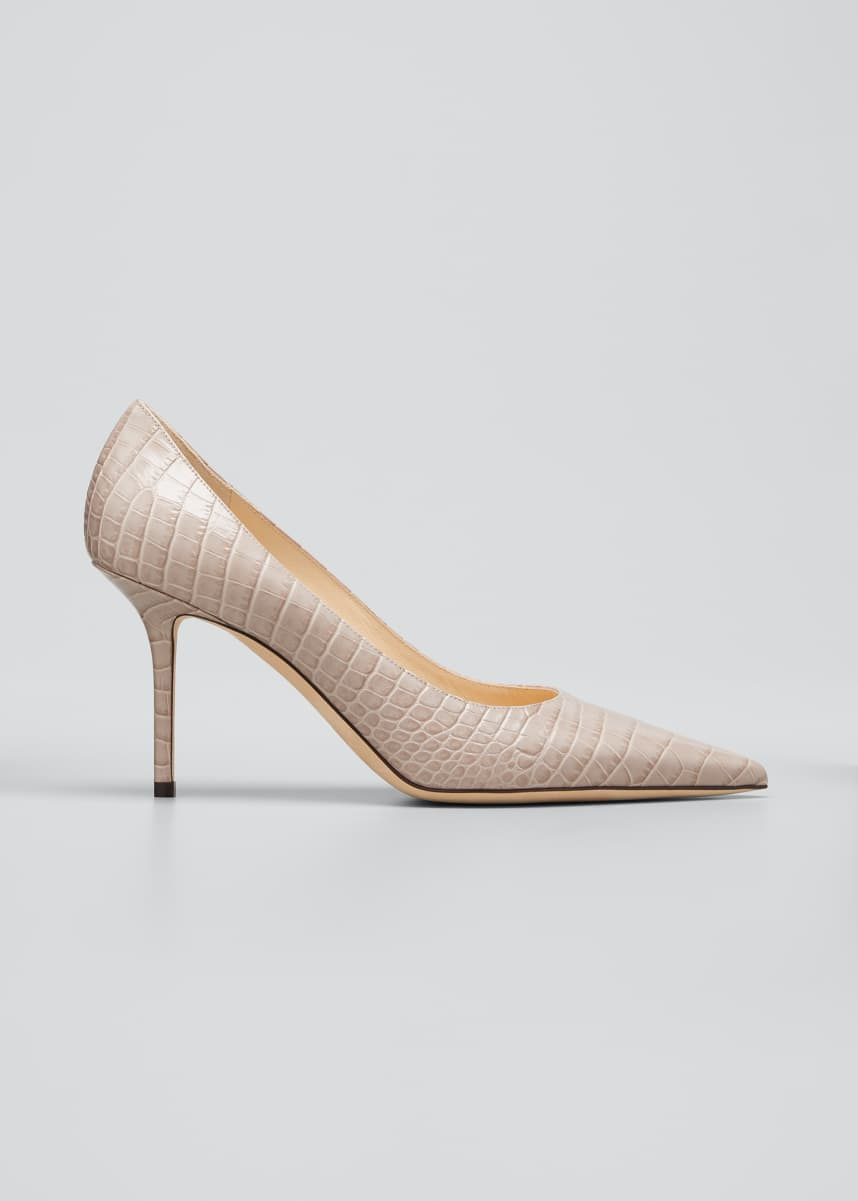 Jimmy Choo Love 85mm Croc-Embossed Leather Pumps