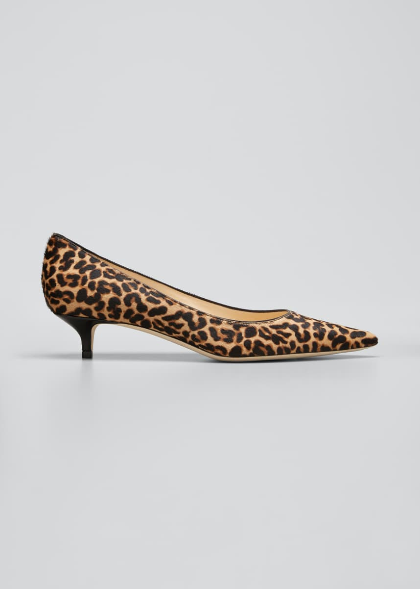 Jimmy Choo Amelia 35mm Kitten-Heel Leopard Pumps