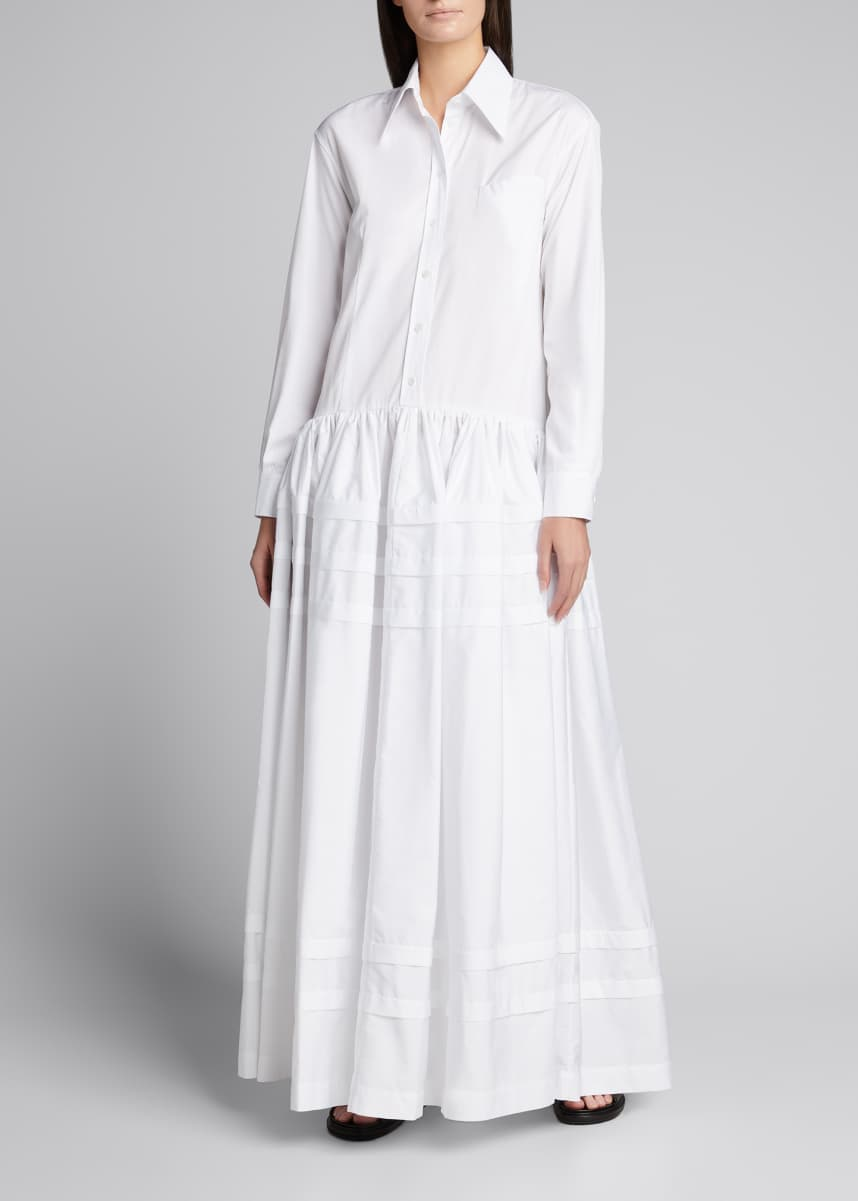 Rosie Assoulin Drop-Waist Pleated Cotton Maxi Dress