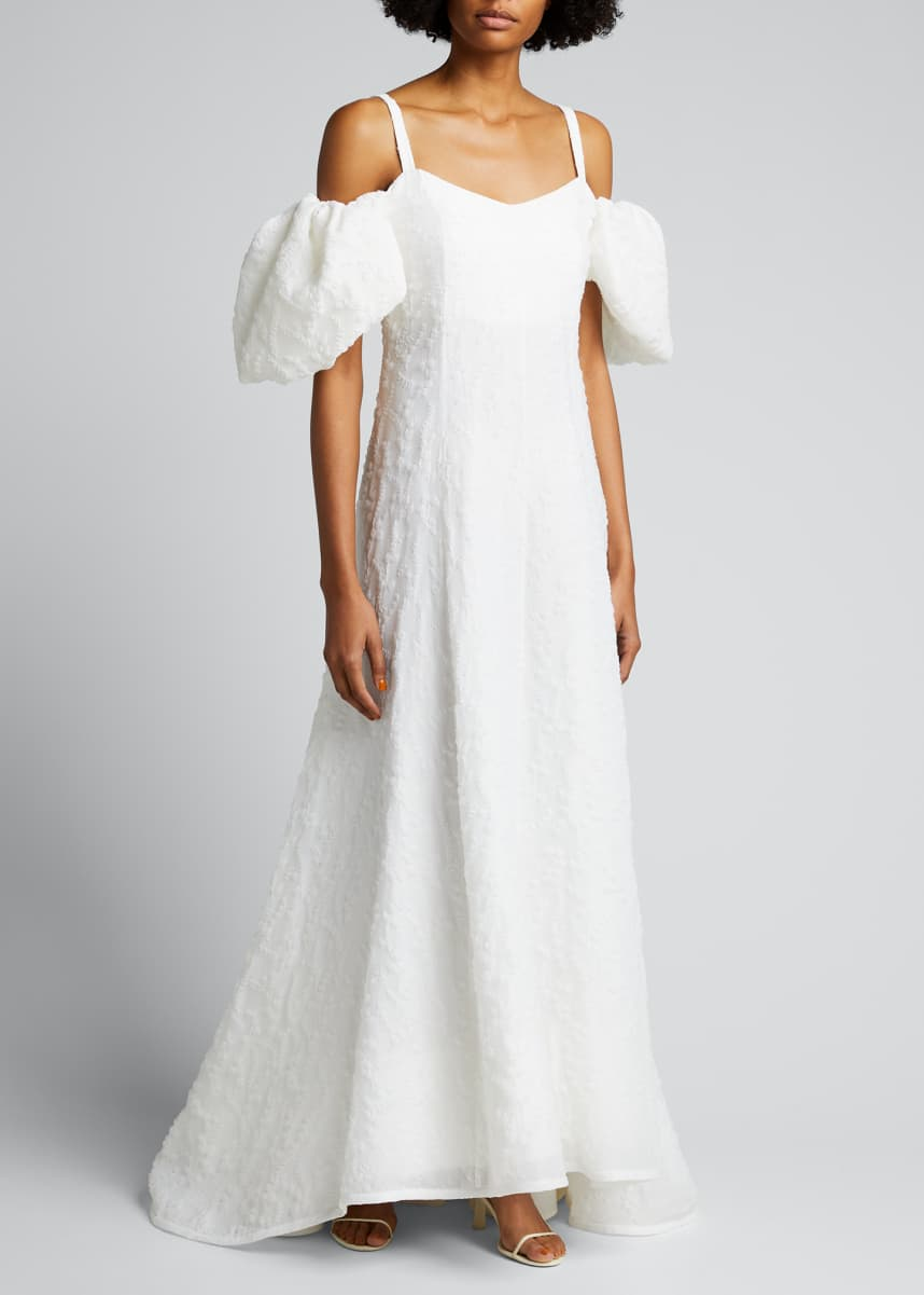 Rosie Assoulin Lily Embroidered Cold-Shoulder Gown
