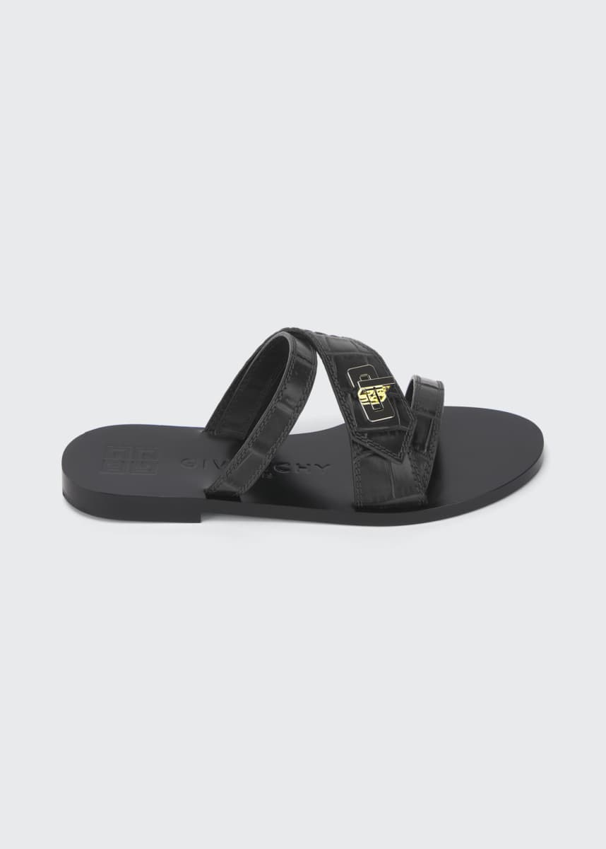 Givenchy Eden Flat Turn-Lock Slide Sandals