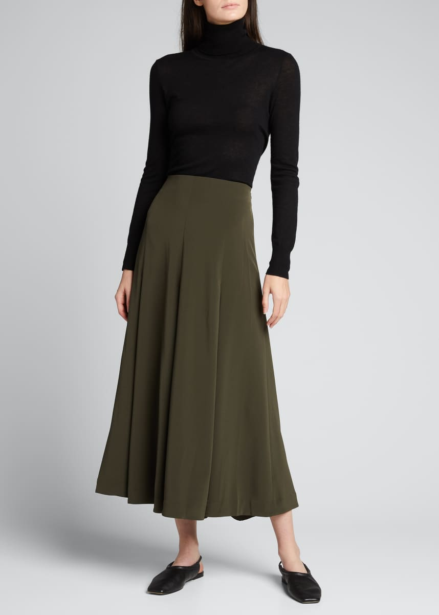 Co Pleated Crepe A-Line Long Skirt