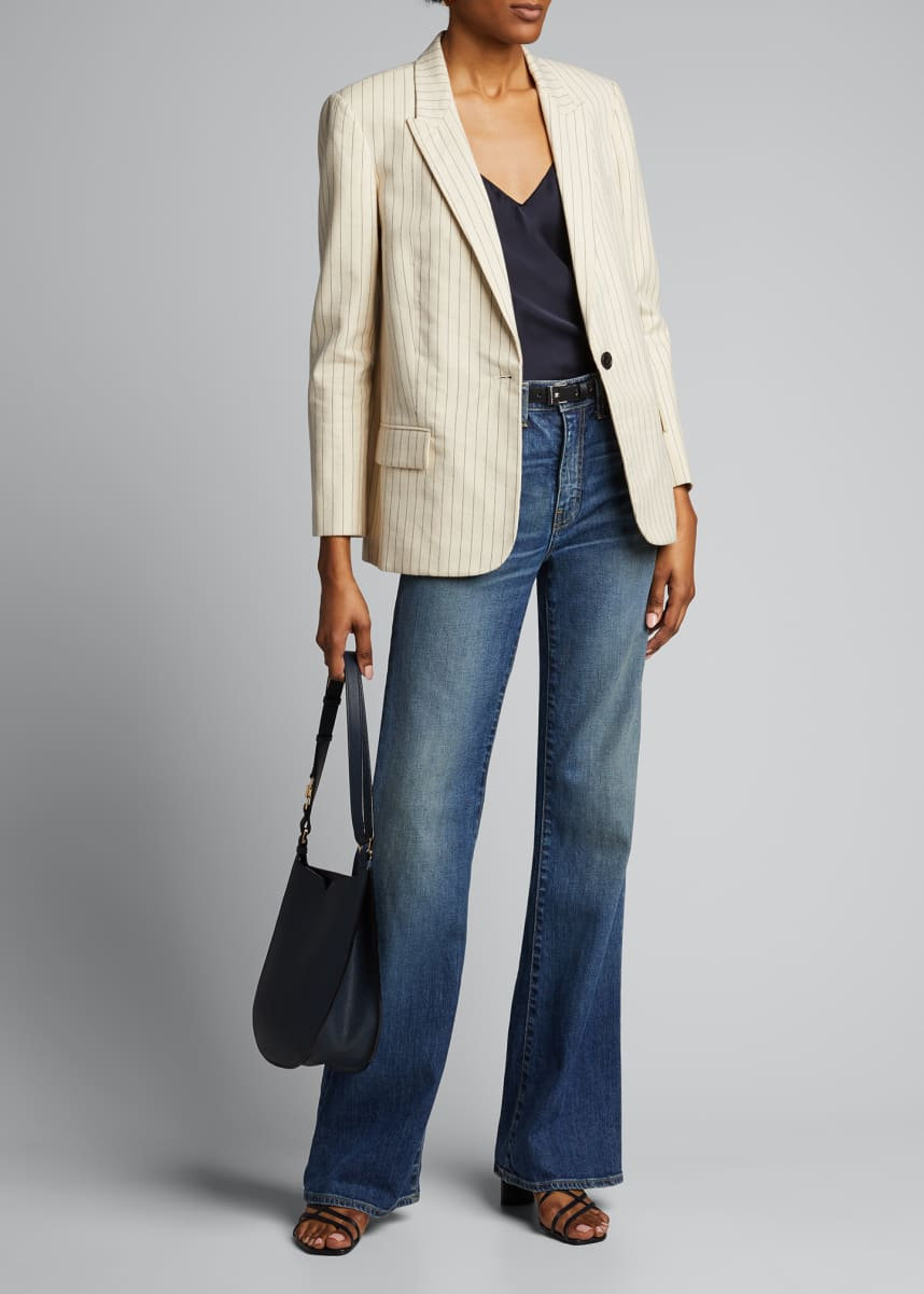 Nili Lotan Don Pinstriped Cotton Blazer Jacket