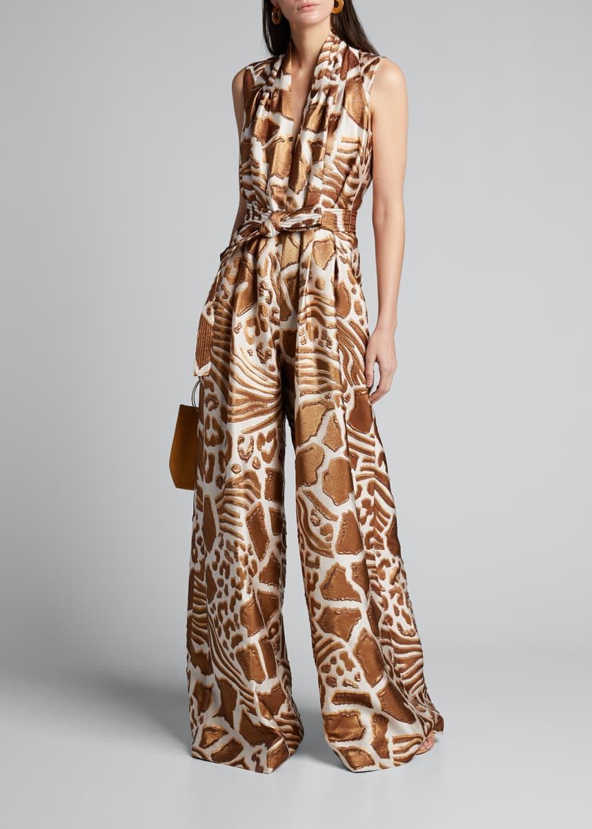 Adam Lippes Sleeveless Belted Printed Jumpsuit