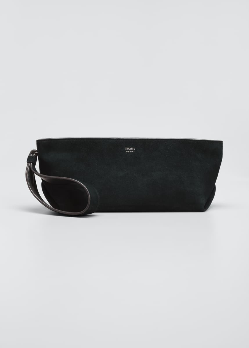 Khaite Alma Suede Envelope Zip Clutch Bag