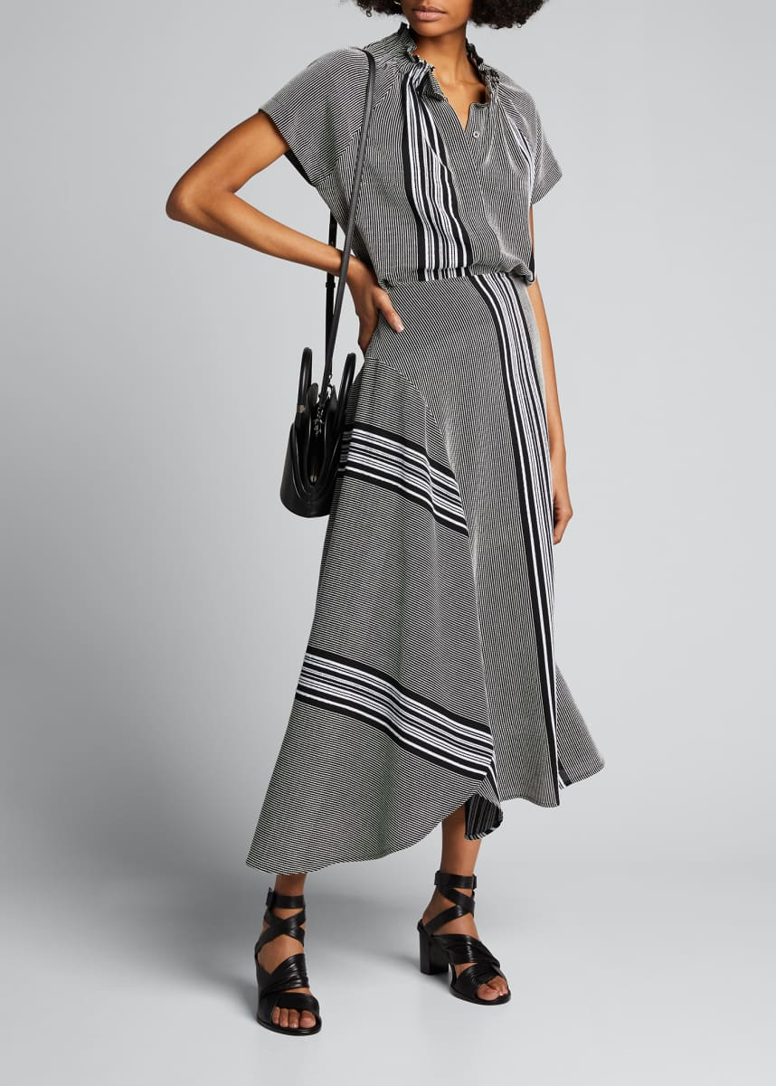 Zero + Maria Cornejo Striped Cotton Circle Skirt