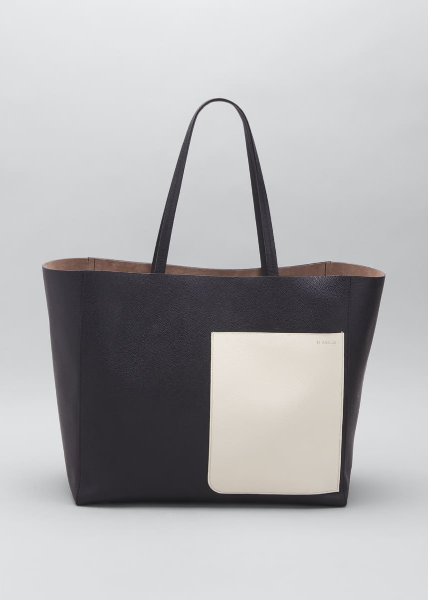 Valextra Bicolor Leather Small Shopping Tote Bag