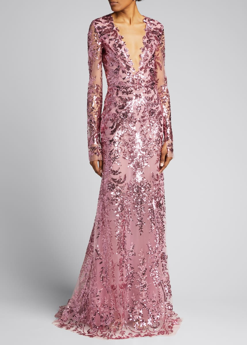 Naeem Khan Embroidered Long-Sleeve Gown