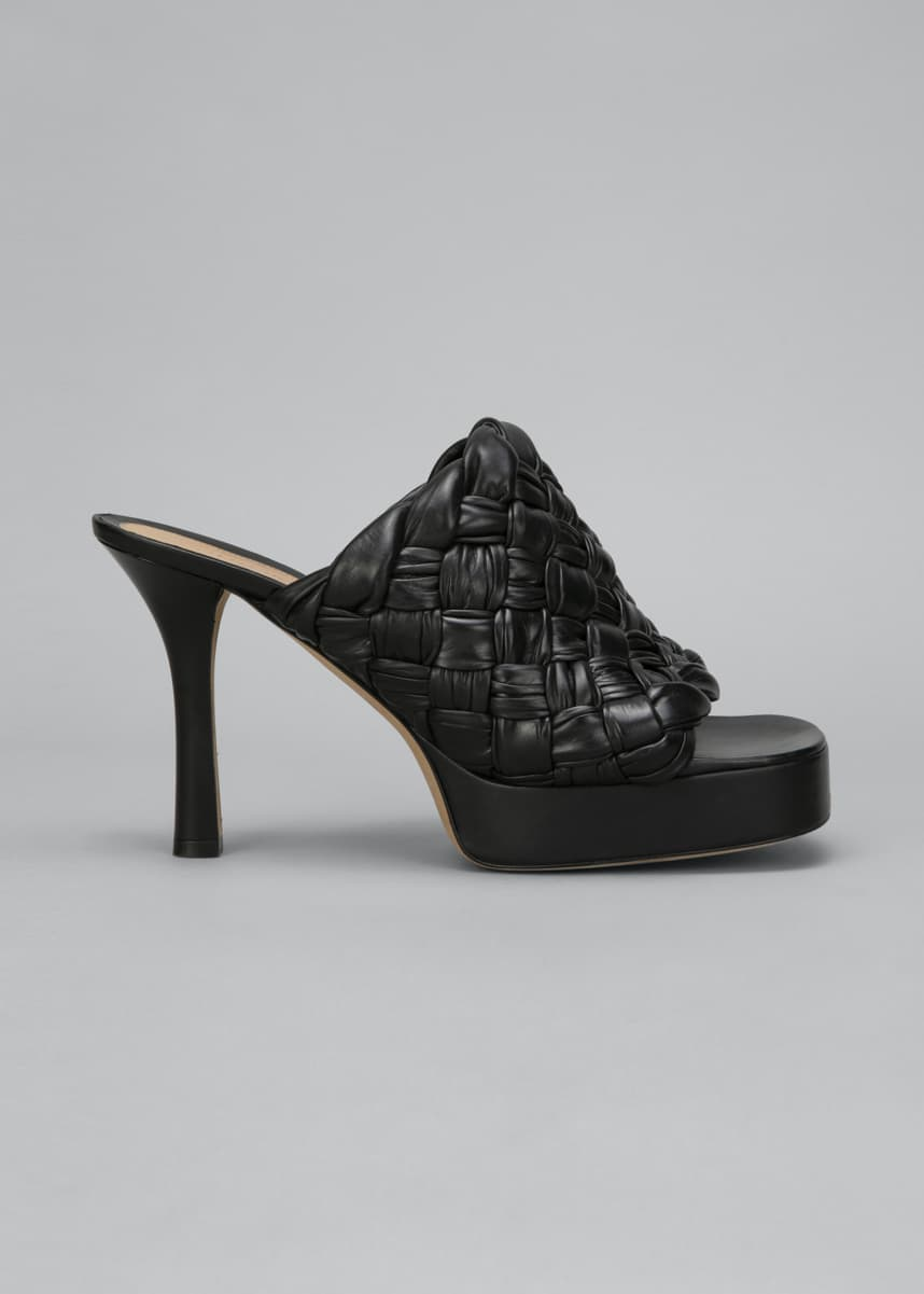 Bottega Veneta 105mm Woven Shiny Leather Platform Sandals