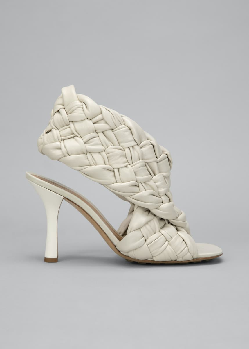 Bottega Veneta 90mm Woven Shiny Leather Sandals