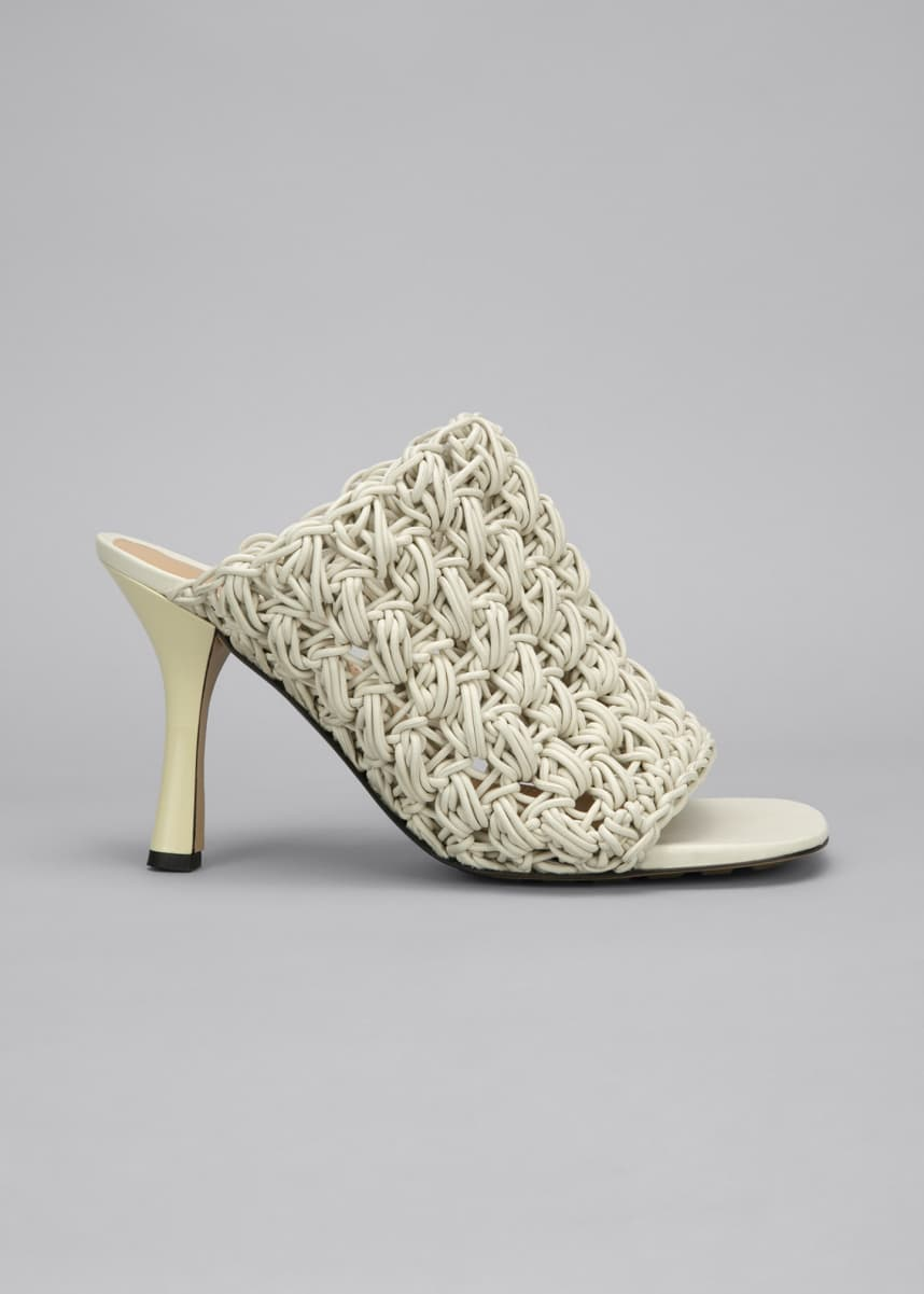 Bottega Veneta 90mm Crochet Napa Mule Sandals