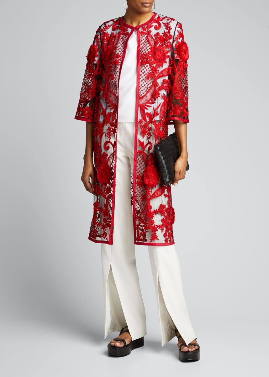 Naeem Khan Lace Embroidered Mesh Coat
