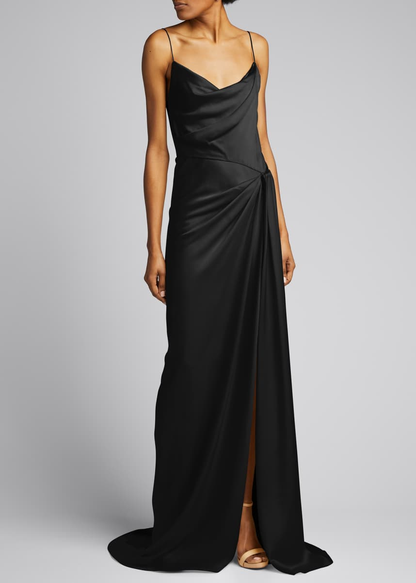 Monique Lhuillier Ruched Satin Column Gown