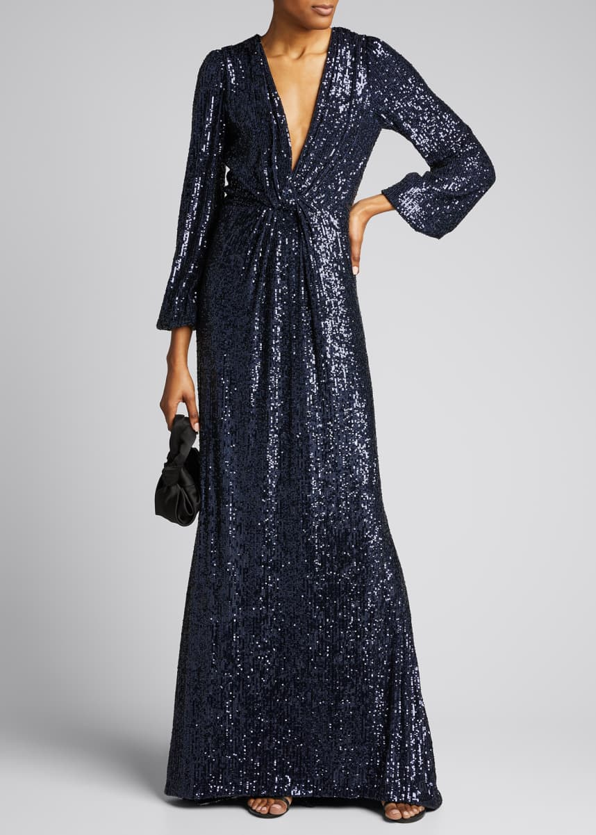 Monique Lhuillier Micro-Sequined Long-Sleeve Gown