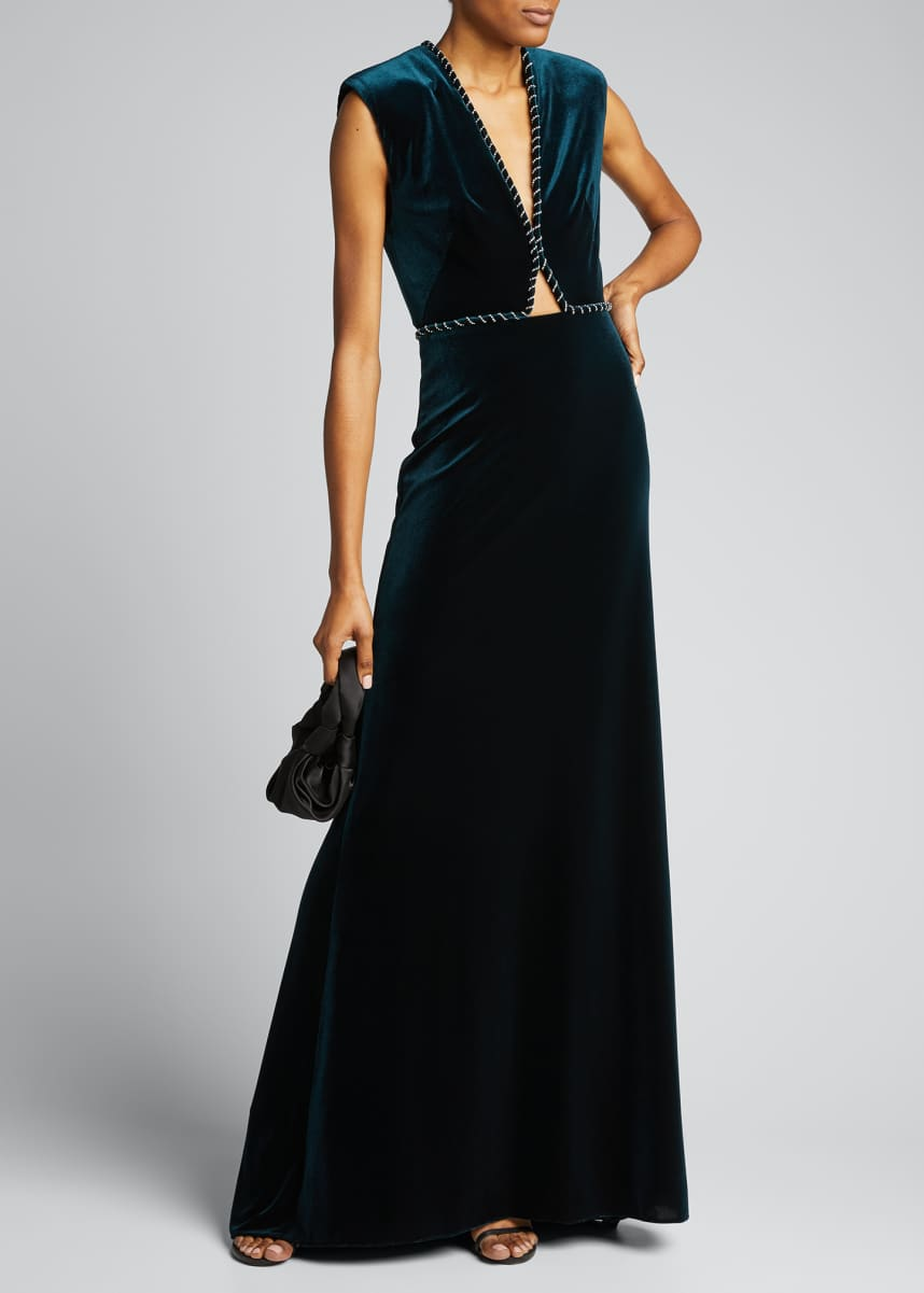 Monique Lhuillier Velour Sleeveless Gown