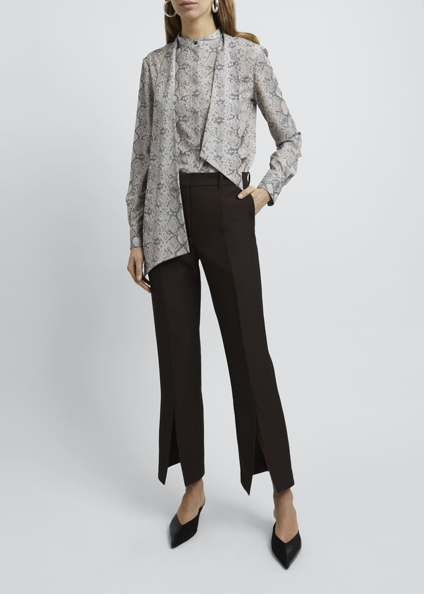 Rokh Snake Print Tie-Neck Long-Sleeve Blouse