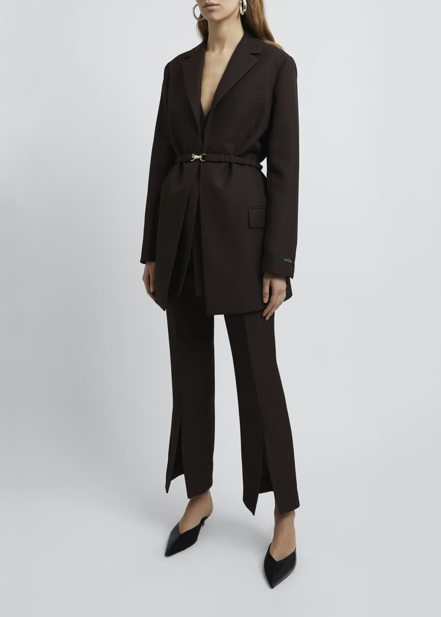 Rokh Belted Long-Sleeve Crepe Blazer Jacket