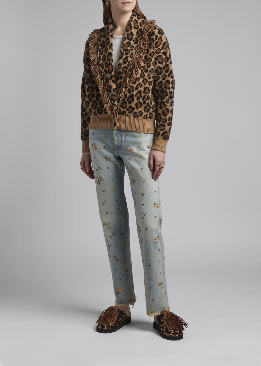 Alanui Cashmere-Wool Leopard Print Bomber Sweater
